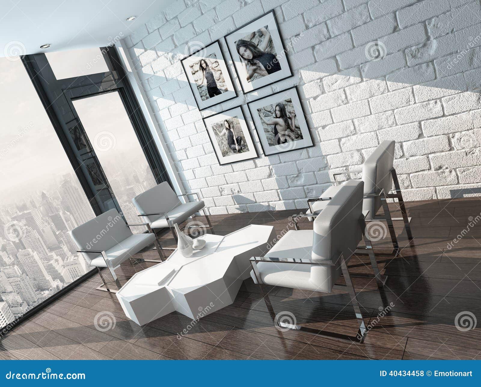 Minimalist living room interior with white brick wall for Brick wall living room
