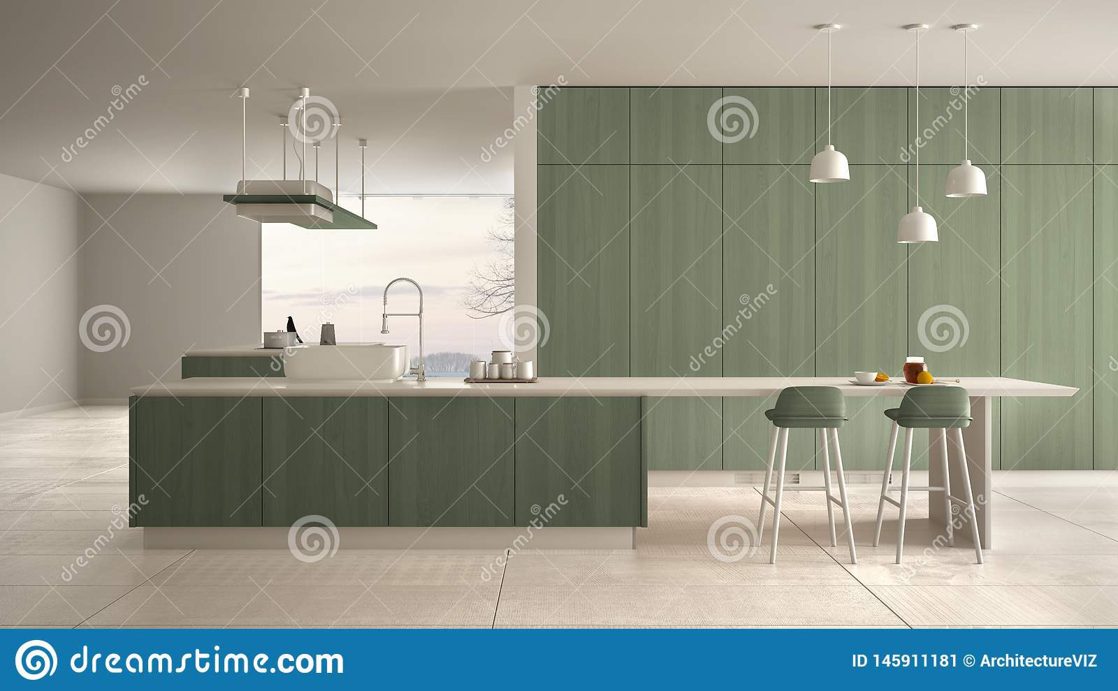 Minimalist Luxury Expensive White And Green Wooden Kitchen Island Sink And Hob Open Space Panoramic Window Marble Ceramic Stock Illustration Illustration Of Design Hardwood 145911181,Patch Work Back Side Simple Blouse Back Neck Designs Images