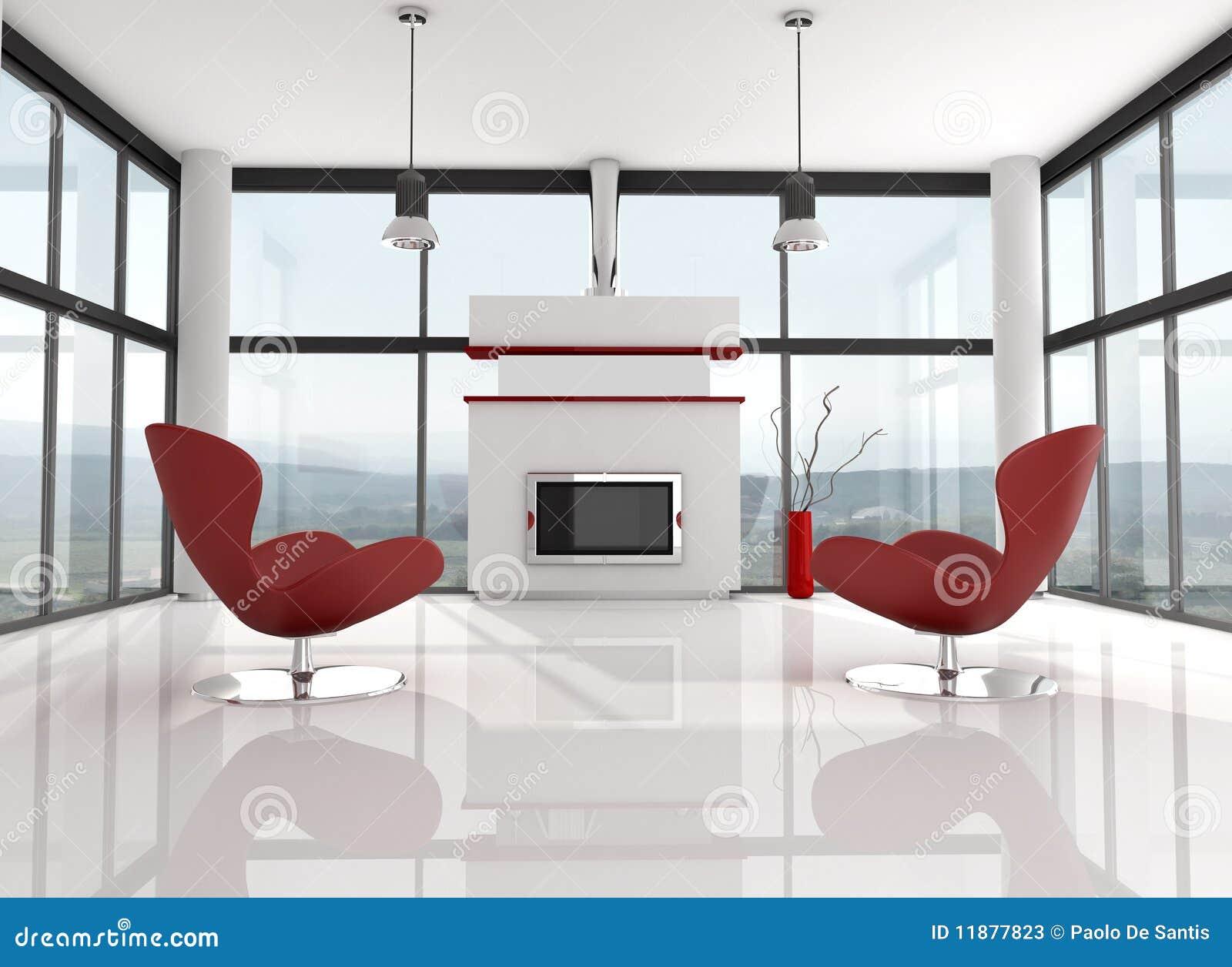 Minimalist Lwhite Lounge Stock Illustration Illustration Of