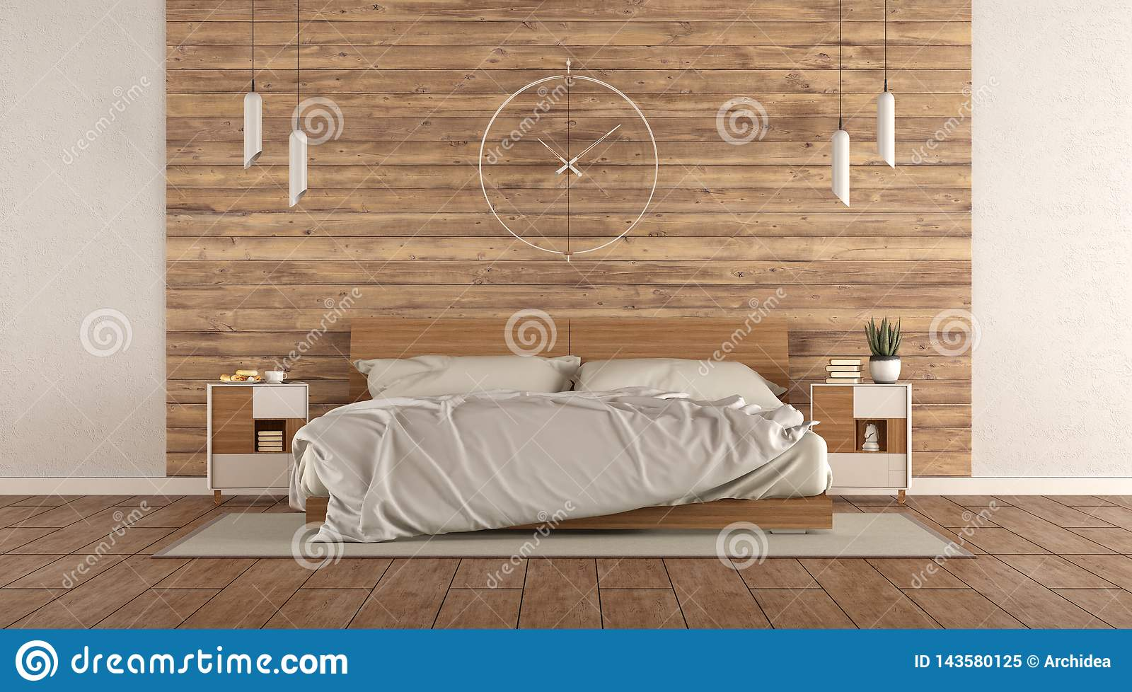 Minimalist Master Bedroom With Wooden Double Bed Stock ...