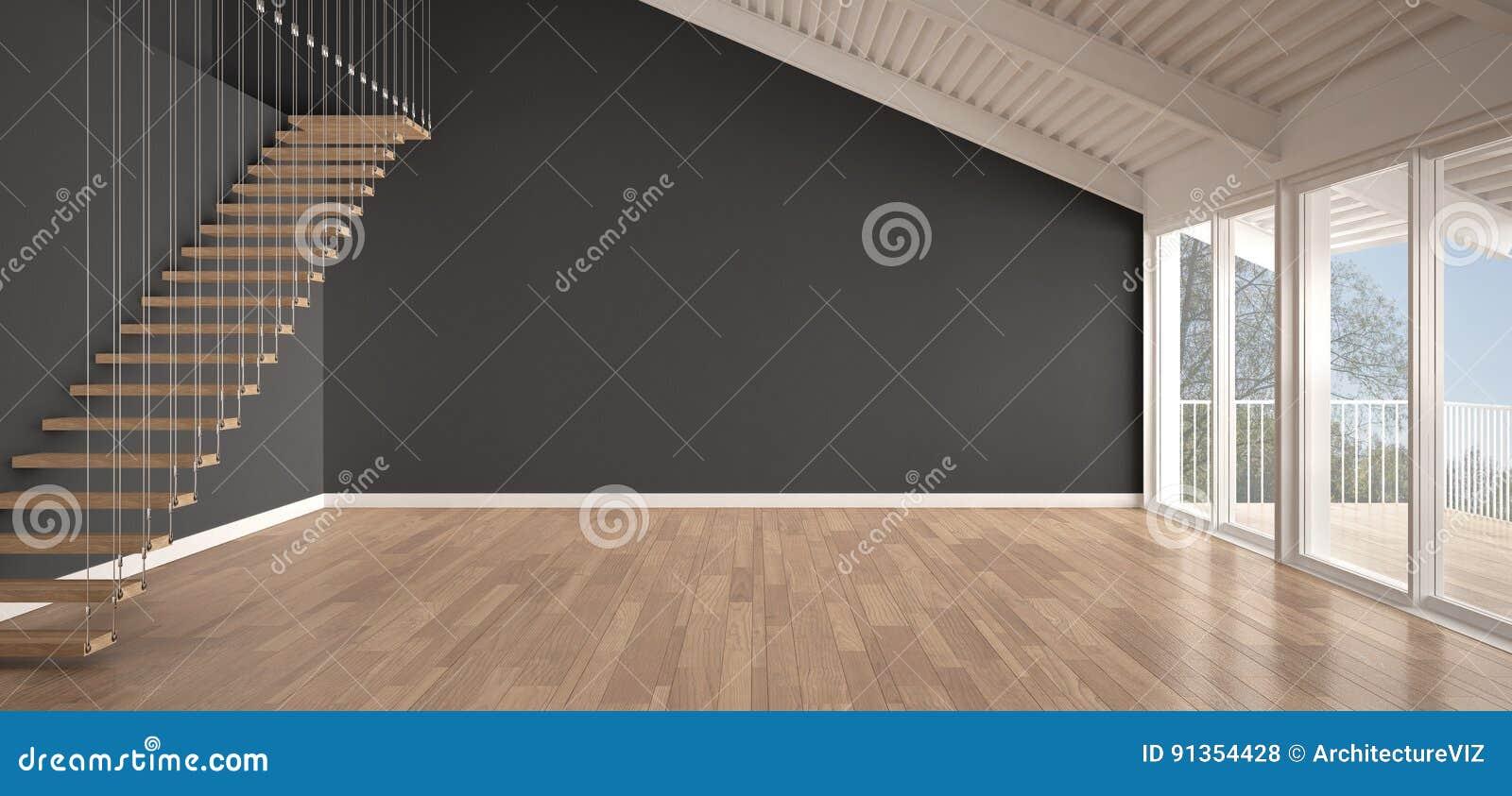 Minimalist Mezzanine Loft Empty Industrial Space Metal Roofing Stock Illustration Illustration Of Design Architecture 91354428
