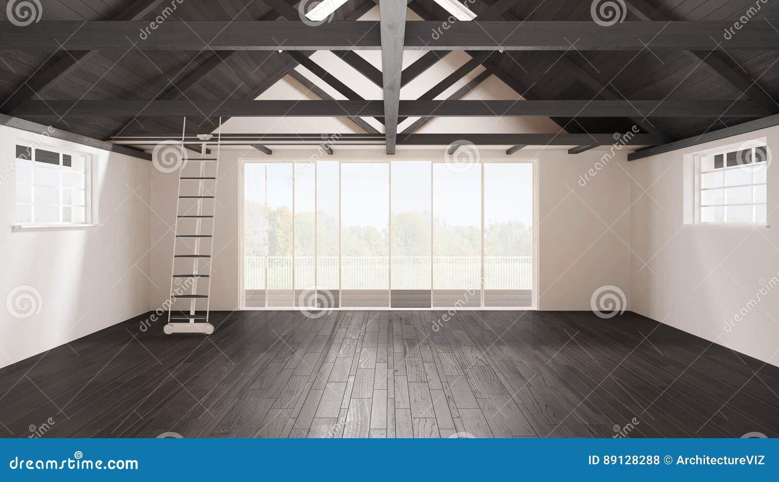 Minimalist Mezzanine Loft Empty Industrial Space Wooden Roofin