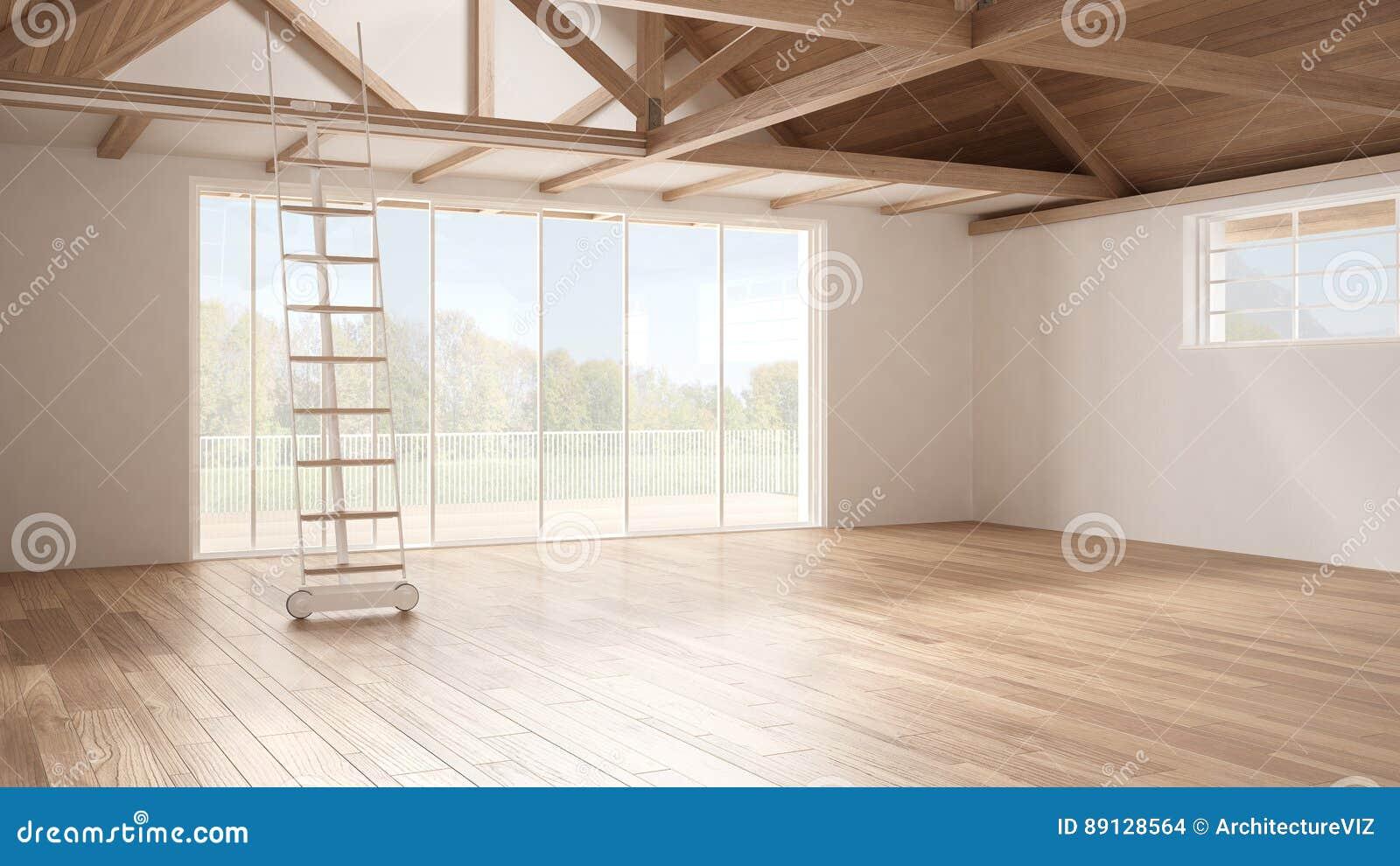 Download Minimalist Mezzanine Loft Empty Industrial Space Wooden Roofin Stock Photo