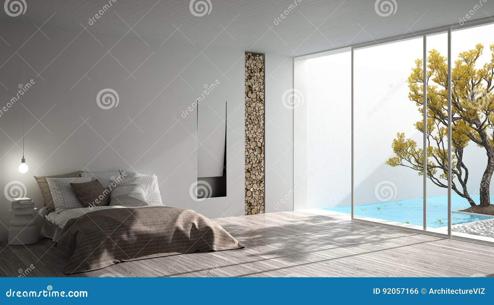 minimalist modern bedroom with big window showing garden and swi