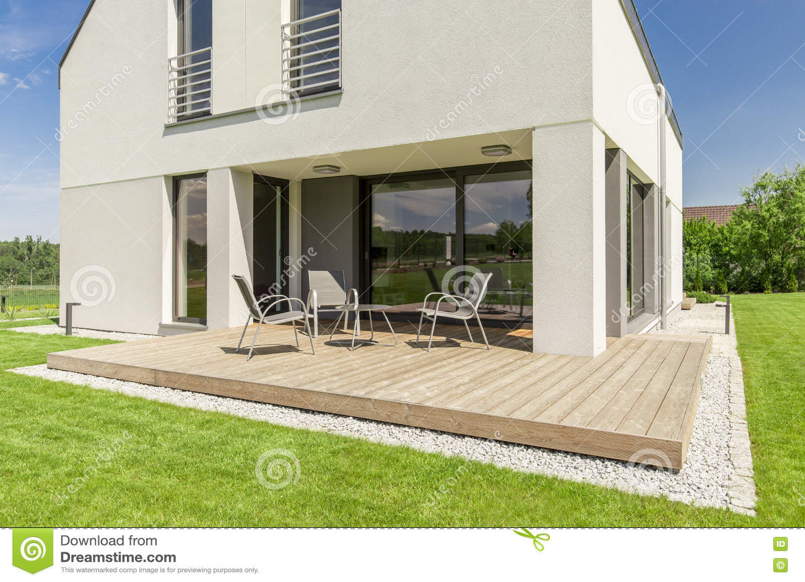 Minimalist Modern House Terrace Stock Photo Image Of Front Patio