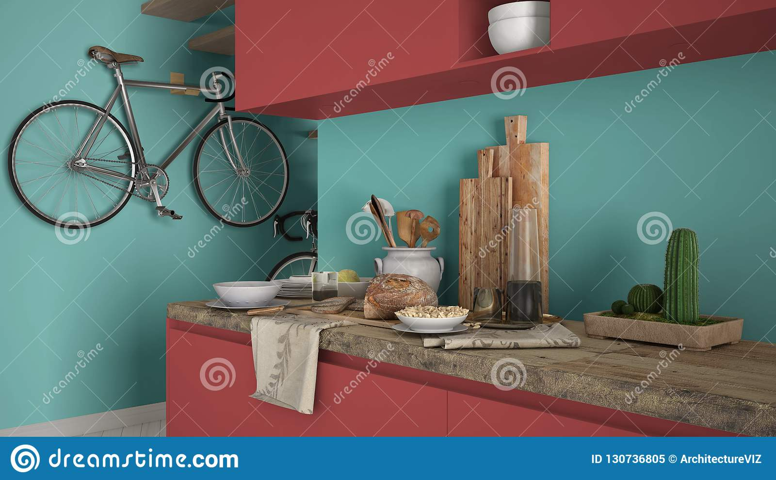Minimalist modern kitchen close up with healthy breakfast, colored contemporary red and turquoise interior design