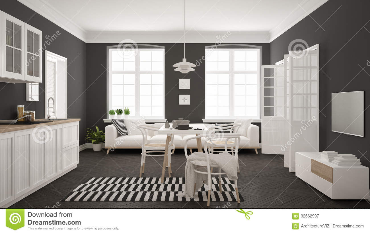 Minimalist modern kitchen with dining table and living room white and gray scandinavian interior design