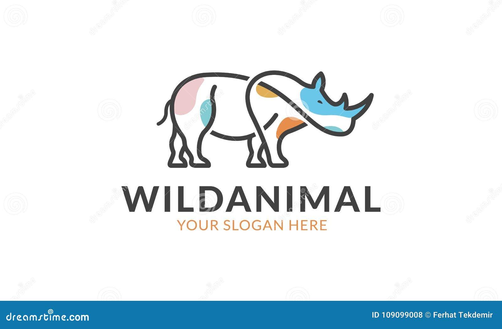 rhino logo template stock vector illustration of safari 109099008