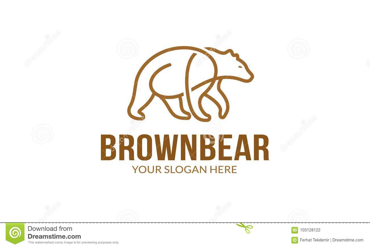 brown bear logo template stock vector illustration of protect