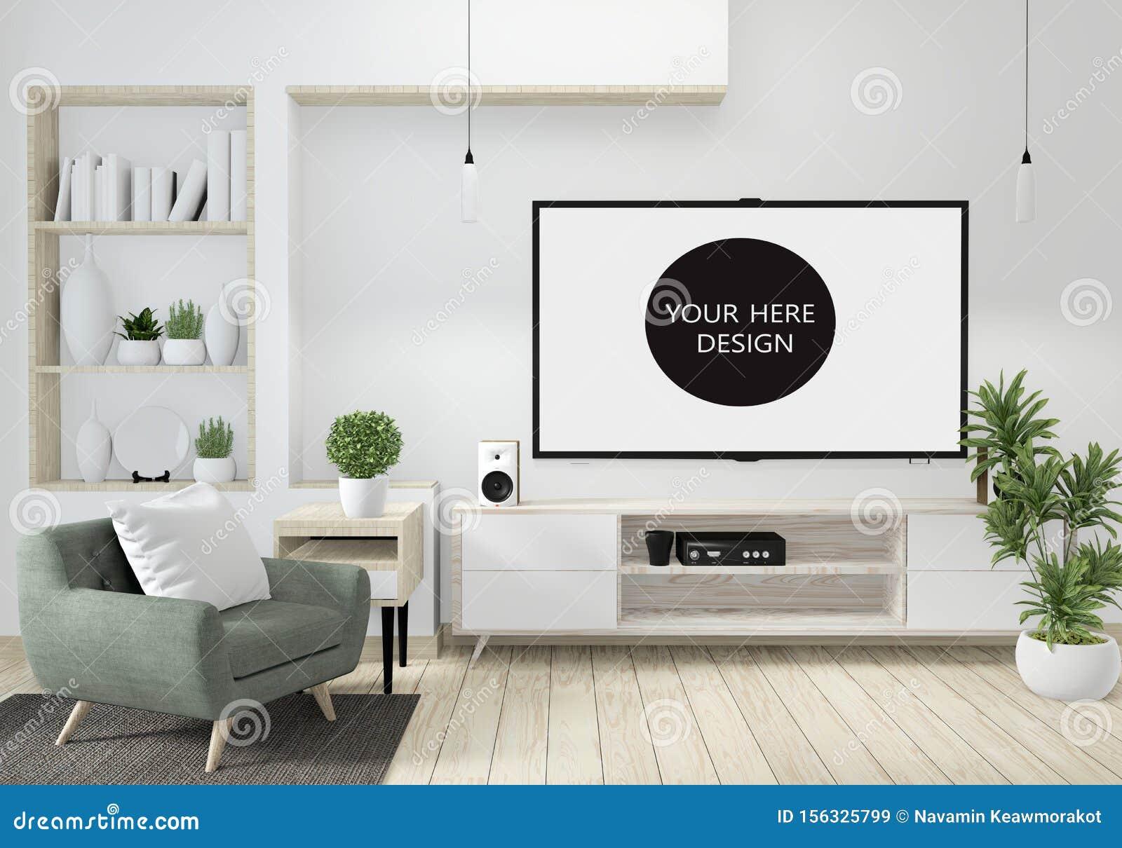 Mock Up Minimalist Modern Zen Living Room With Wood Floor ...
