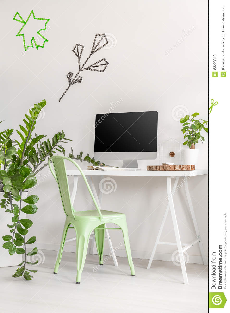 Minimalist Office Interior With Mint Chair And Plants Stock Photo ...