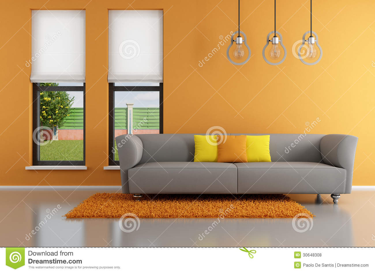 Gray Living Minimalist Orange Room