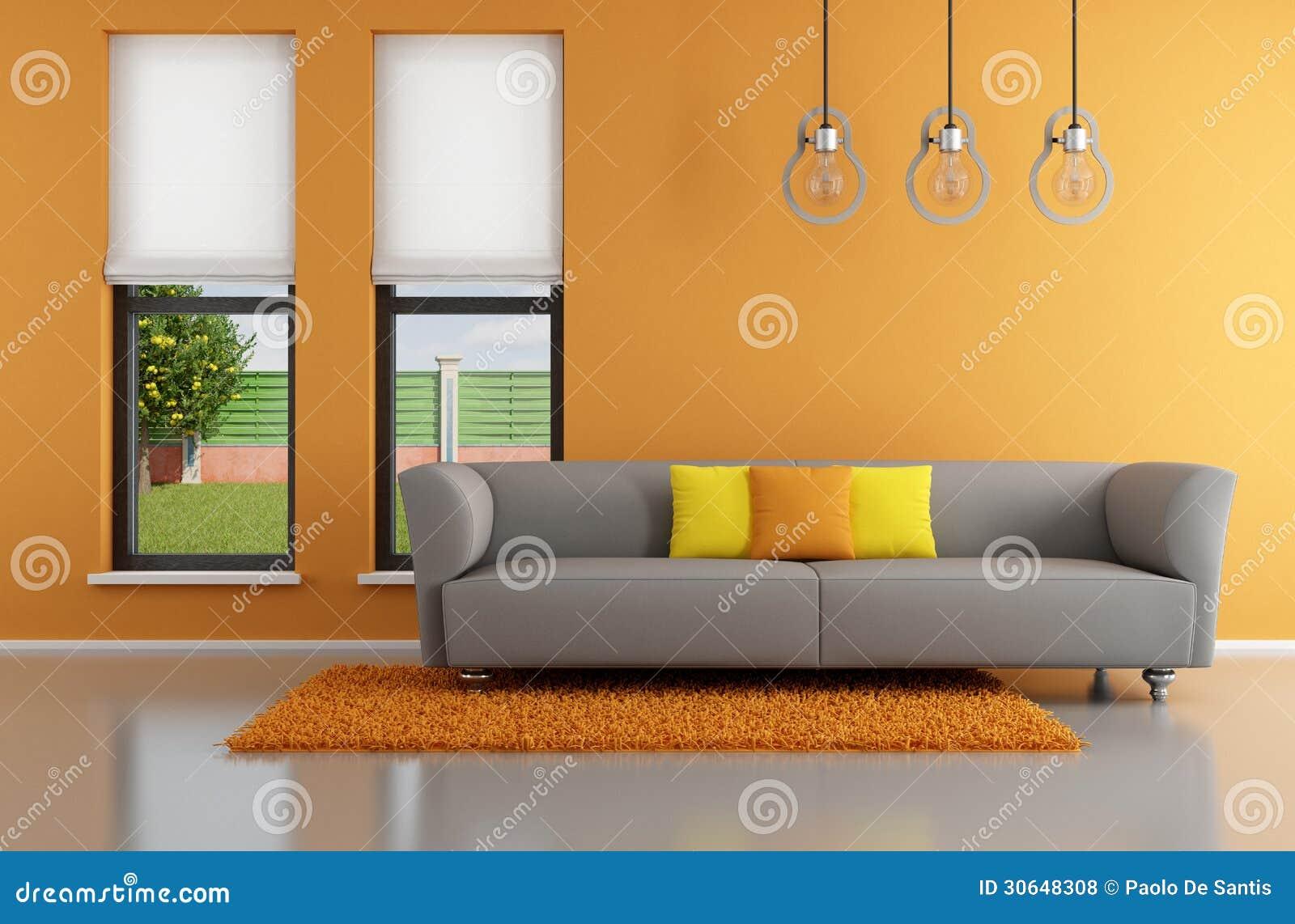 Minimalist Orange Living Room Royalty Free Stock Photos Image 30648308