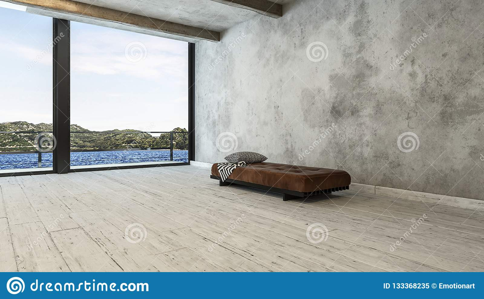 Minimalist penthouse room with bench sofa and view