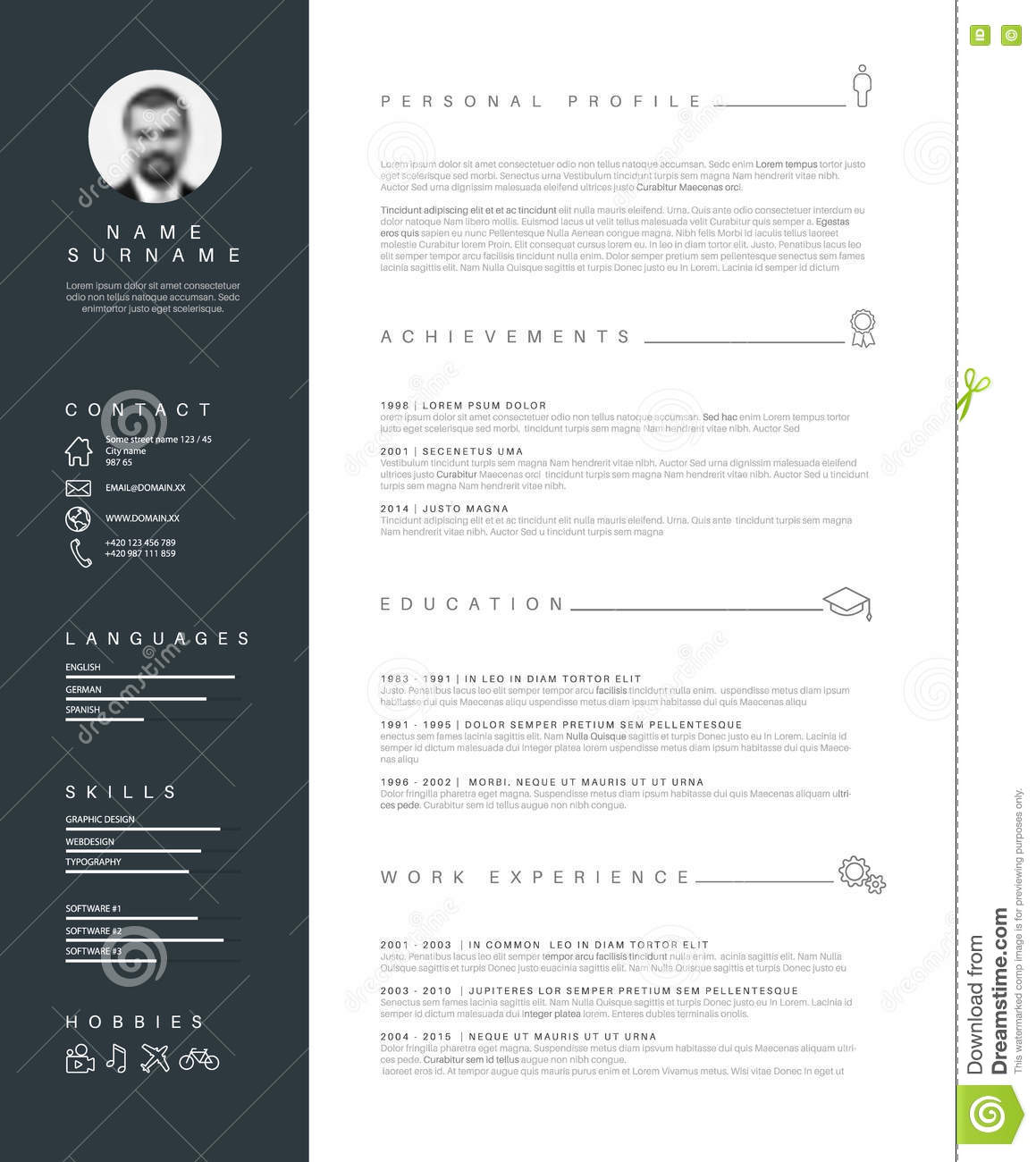 minimalist resume cv template with typography stock