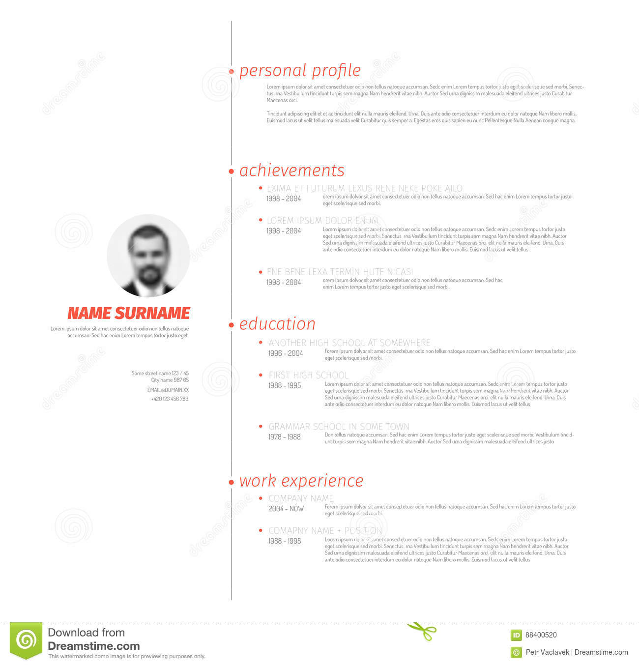 Minimalist Resume Cv Template With Nice Typography Stock Vector