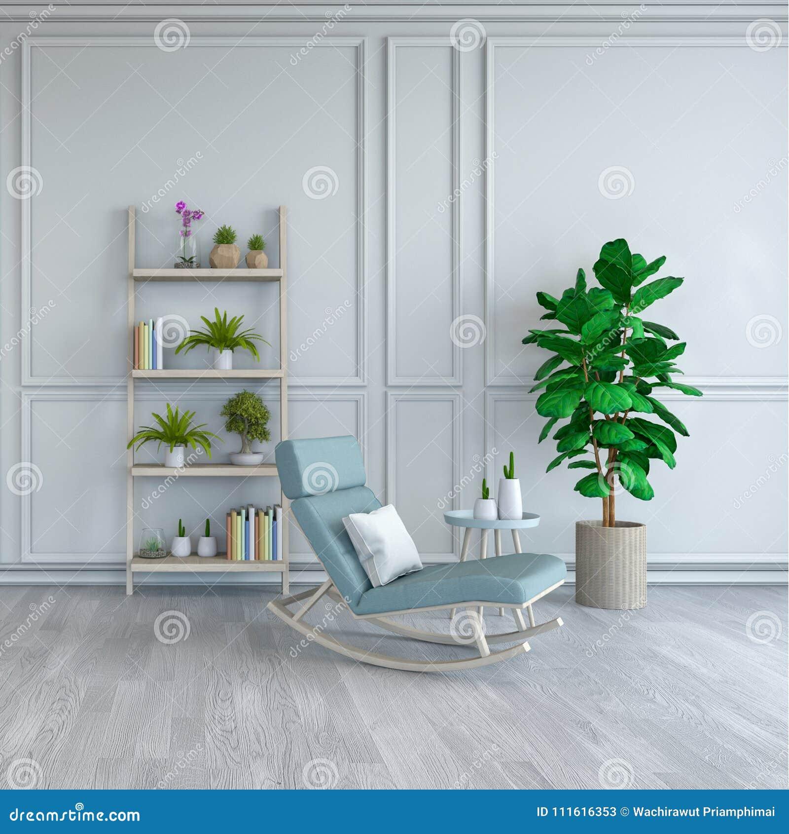 Minimalist Room Interior Design Light Blue Lounge Chair