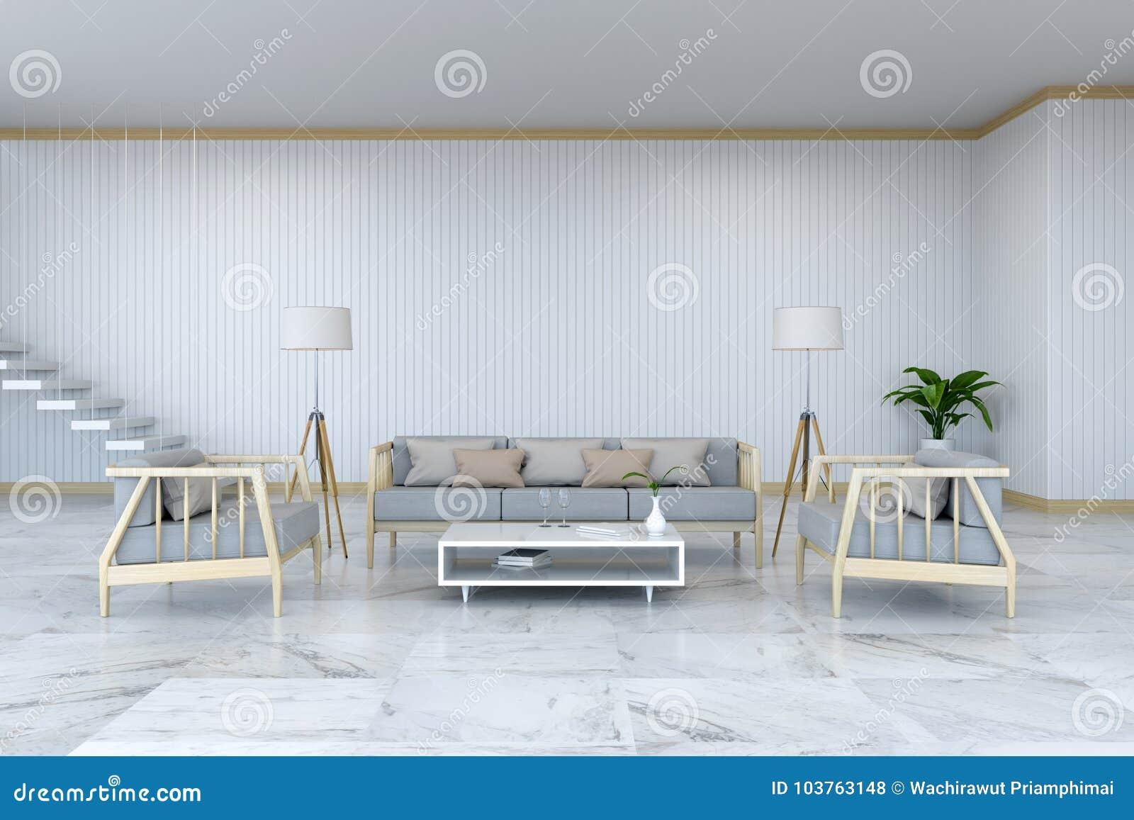 Minimalist Room Interior Design Wood Armchair And Sofa On Marble Floor And White Room 3d Render Stock Illustration Illustration Of Mockup Design 103763148
