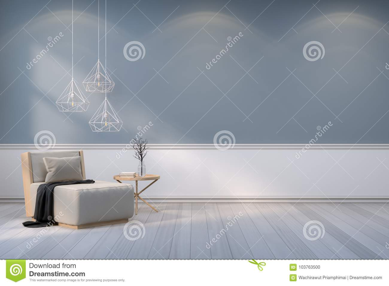 Minimalist room interior design,wood armchair with white lamp on gray wall and wood floor /3d render