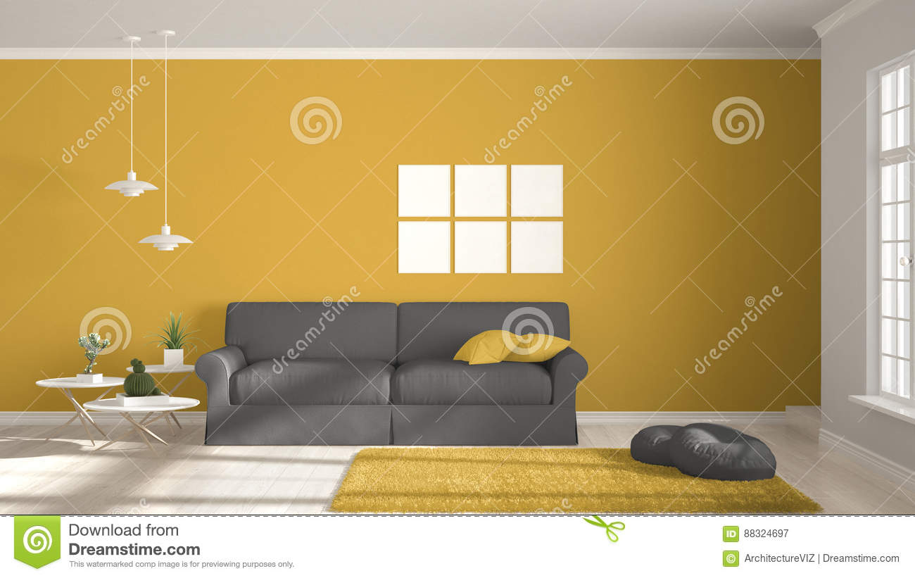 Minimalist Room, Simple White, Gray And Yellow Living With ...