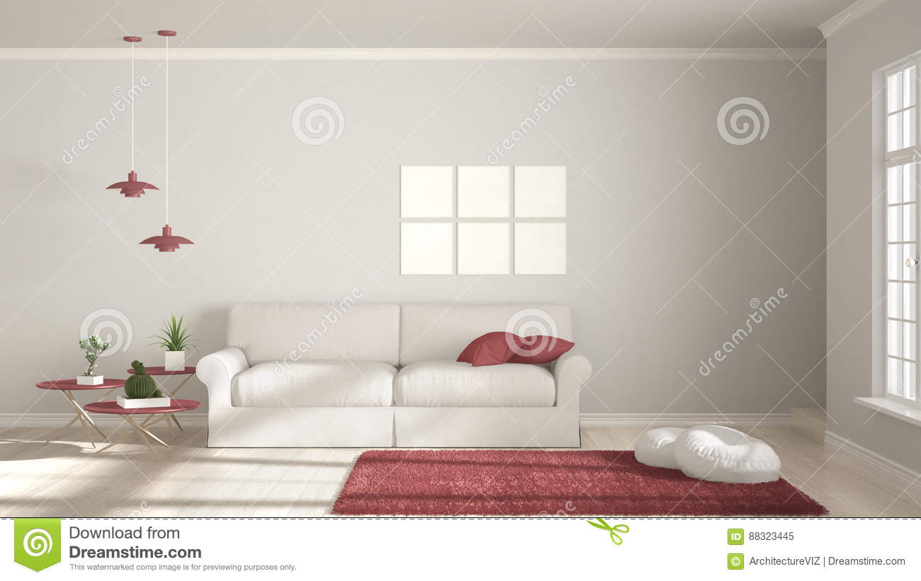 Minimalist Room, Simple White And Red Living With Big Window, Sc ...