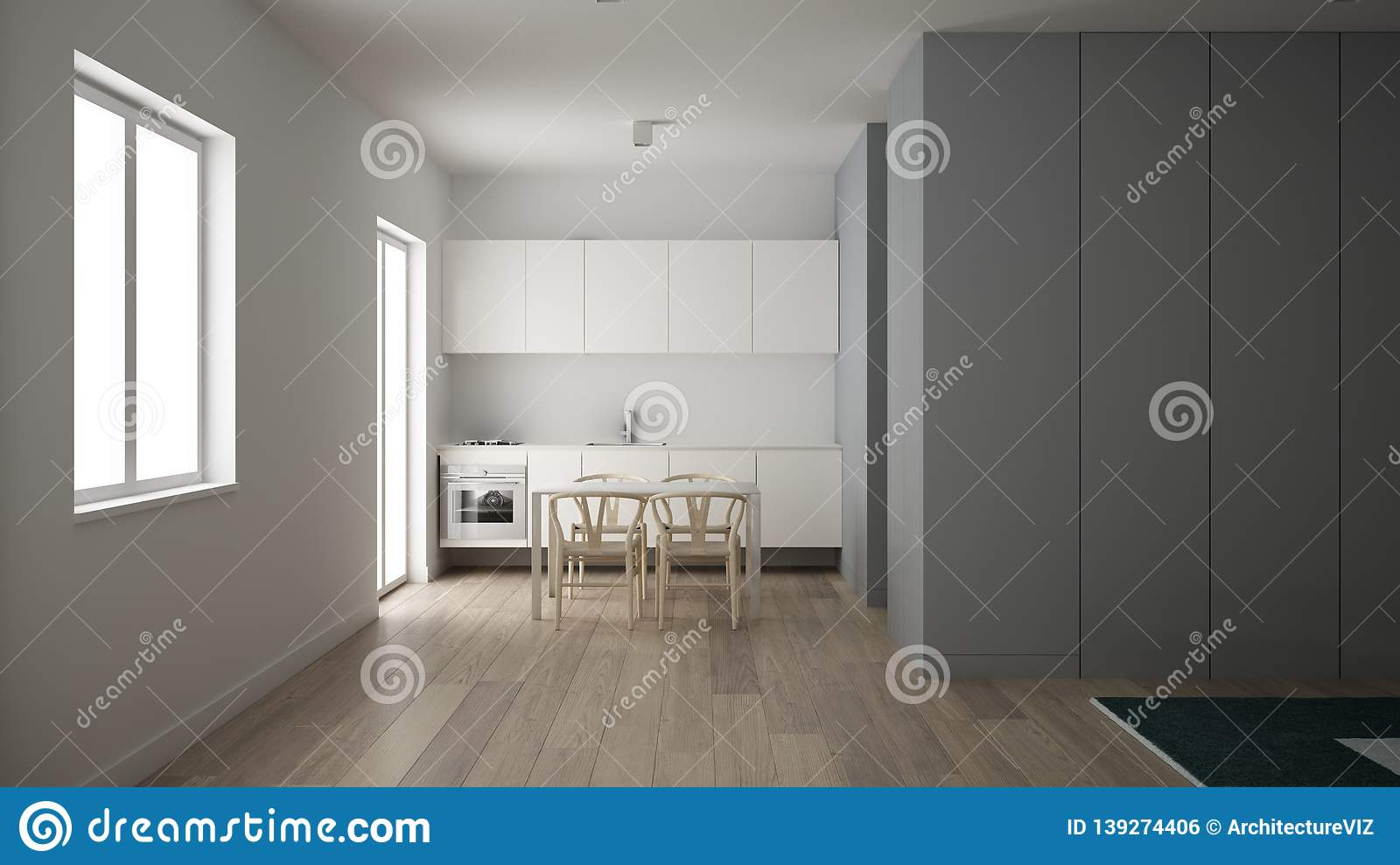 Minimalist Small Kitchen In One Bedroom Apartment Dining Table With Wooden Chairs Parquet Floor White Interior Design Clean Stock Photo Image Of Contemporary Fancy 139274406