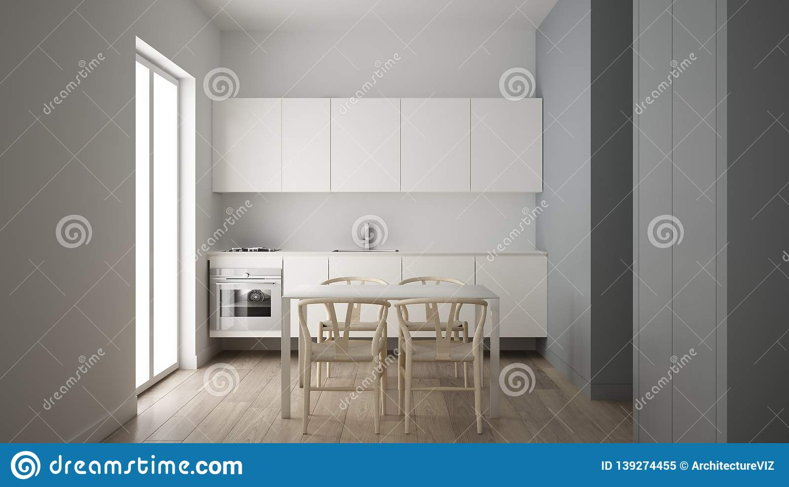 Minimalist Small Kitchen In One Bedroom Apartment, Dining Table ...