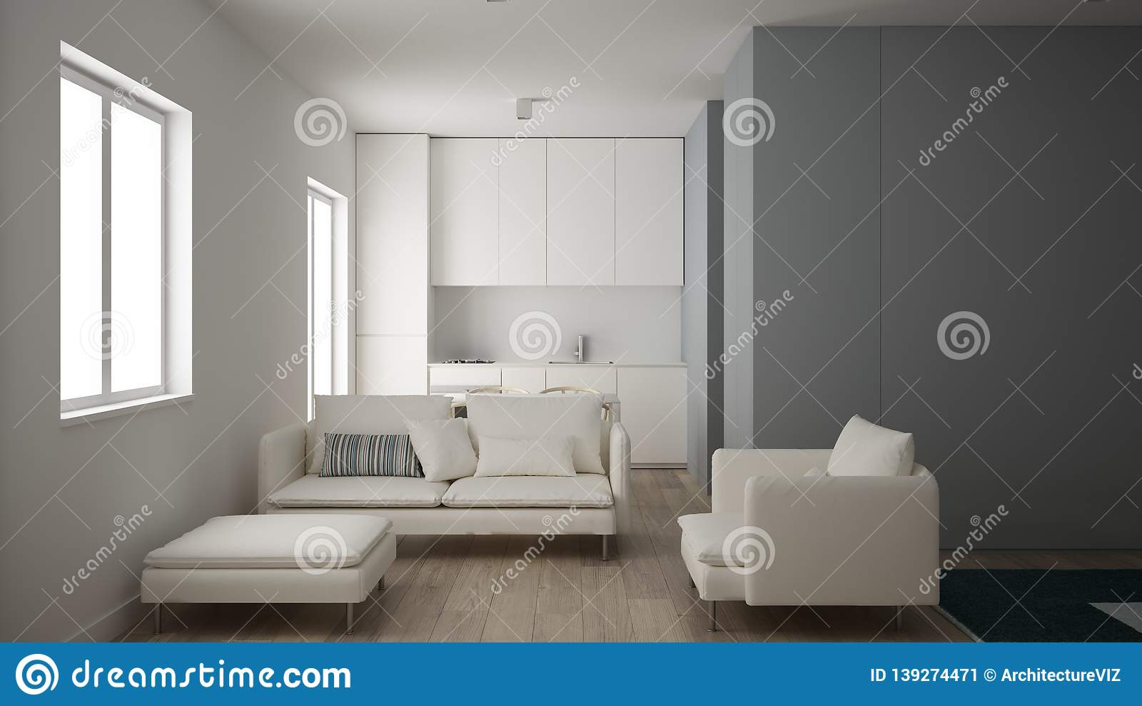 Minimalist Small Kitchen In One Bedroom Apartment Living Room With Sofa Armchair And Pouf Parquet Floor White Interior Design Stock Image Image Of House Interior 139274471