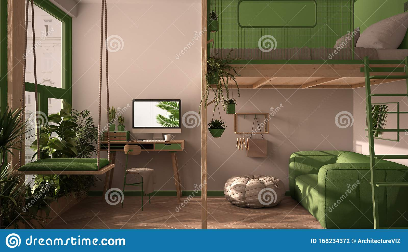 Minimalist Studio Apartment With Loft Bunk Double Bed Mezzanine Swing Living Room With Sofa Home Workplace Desk Computer Stock Illustration Illustration Of Wood Sofa 168234372