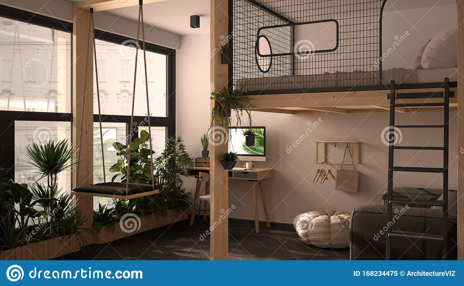 Minimalist Studio Apartment With Loft Bunk Double Bed Mezzanine Swing Living Room With Sofa Home Workplace Desk Computer Stock Illustration Illustration Of Space Office 168234475