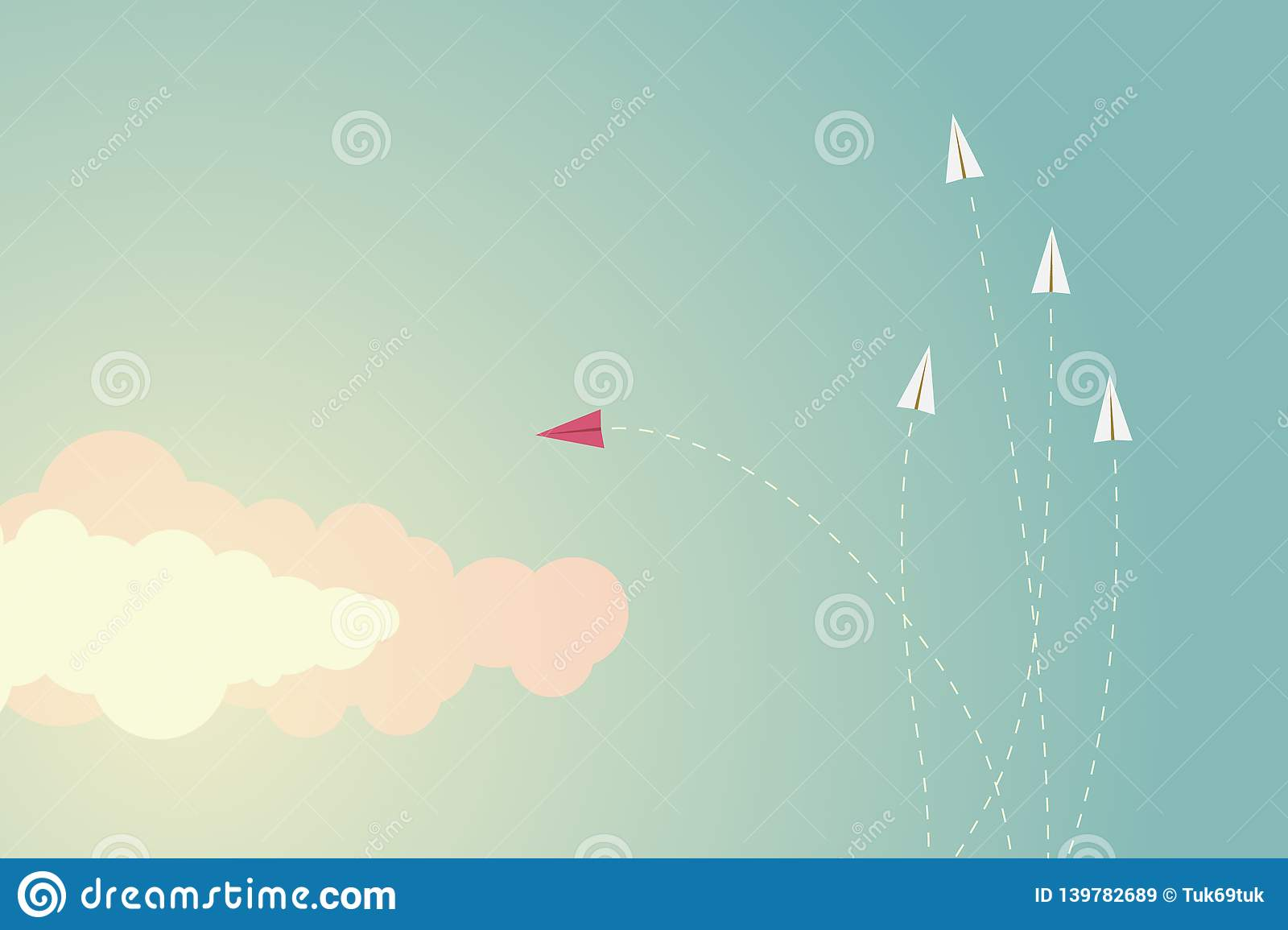 Minimalist style red airplane changing direction and ones. New idea, change, trend, courage, creative solution,business,