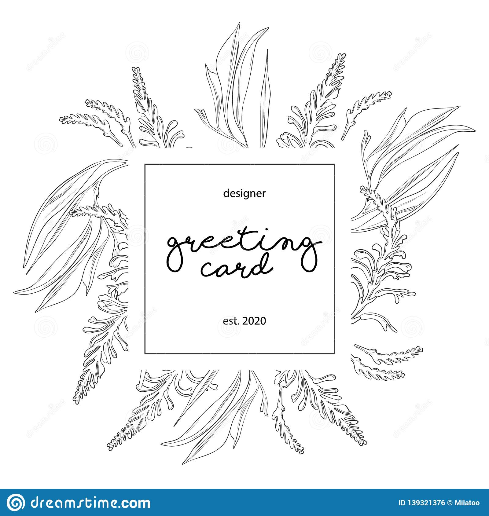 Minimalist Wedding Invitation Card Template Design Floral Black