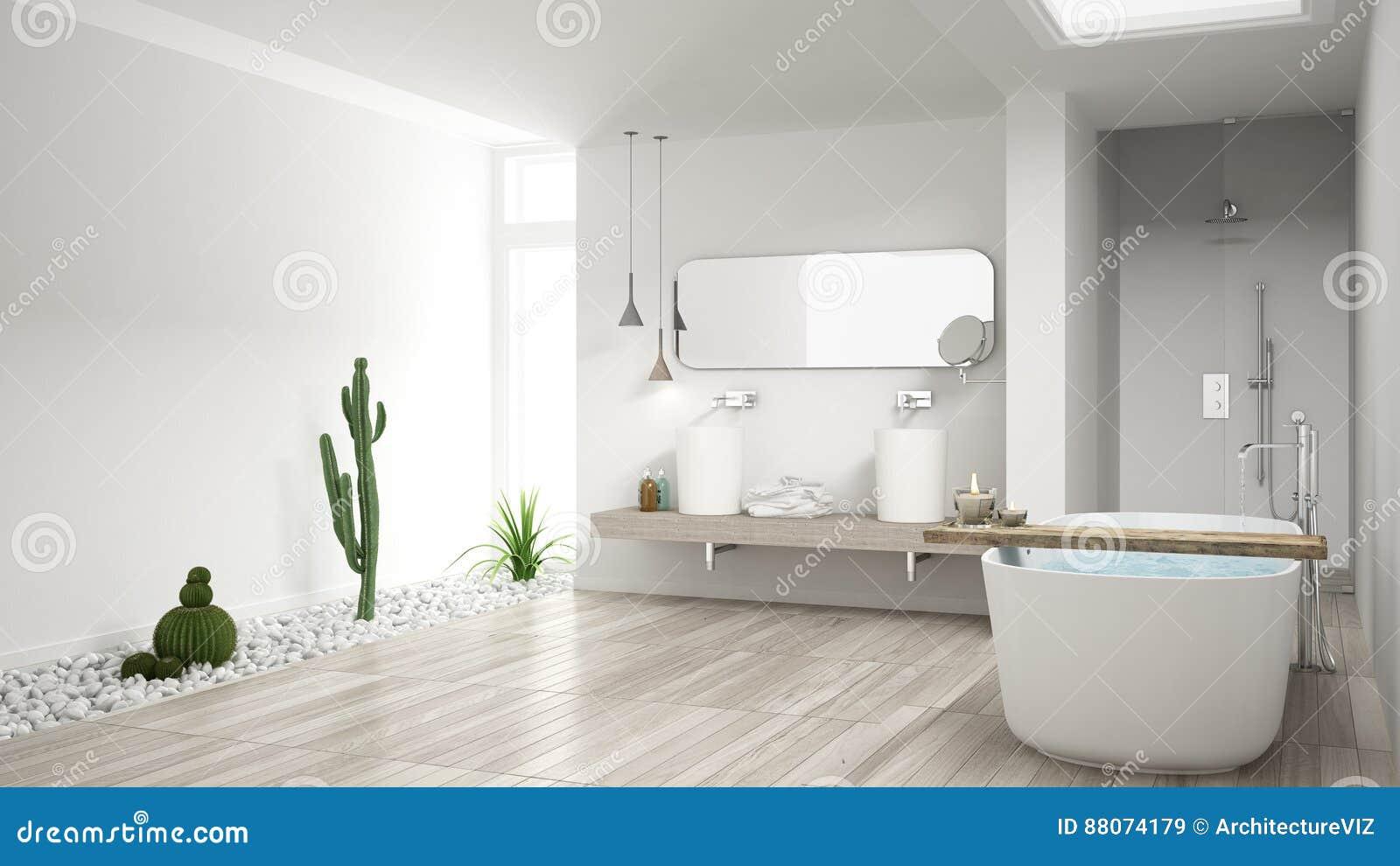 Minimalist White Bathroom With Succulent Garden, Wooden Floor An ...