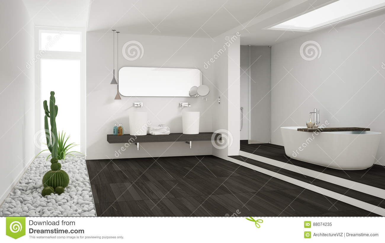 Minimalist White Bathroom With Succulent Garden, Wooden Floor An ...