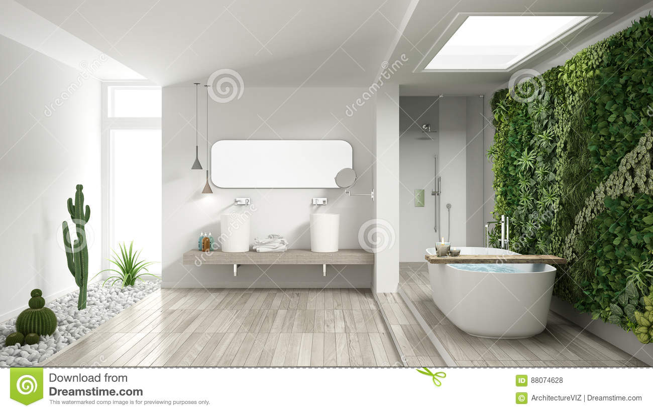 Minimalist White Bathroom With Vertical And Succulent Garden, Wo ...