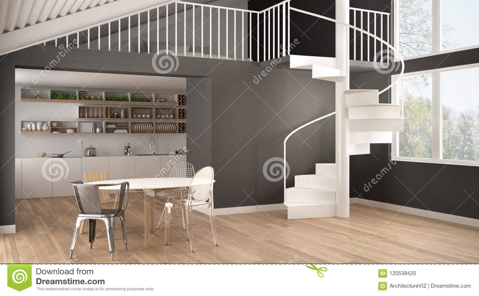 Minimalist White And Gray Kitchen With Mezzanine And Modern Spiral ...