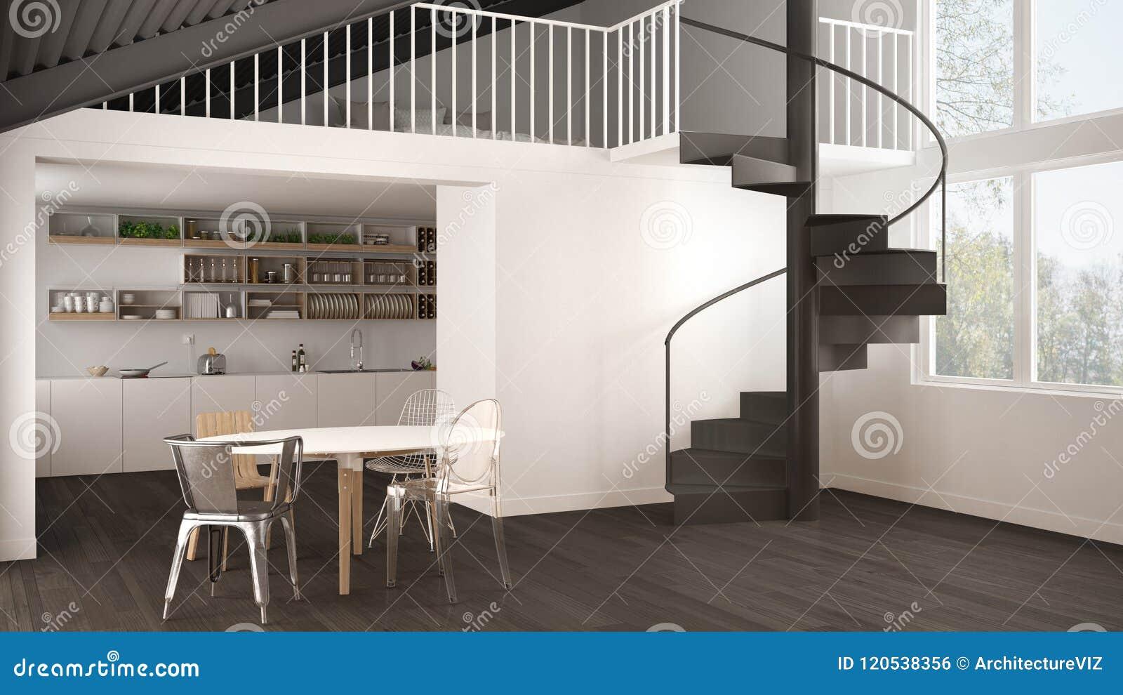 Minimalist White And Gray Kitchen With Mezzanine And Modern ...