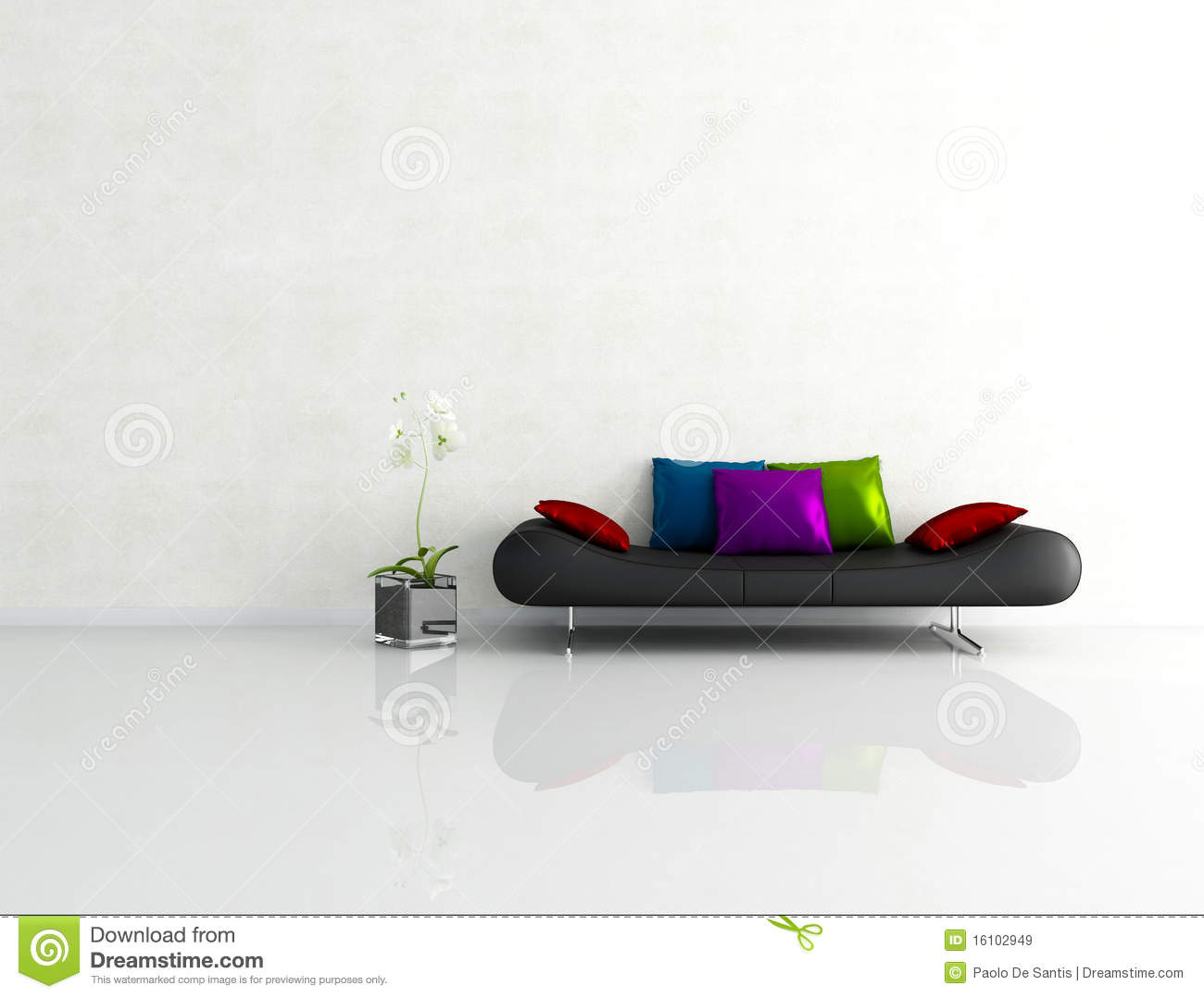 Minimalist White Interior With Fashion Couch Royalty Free Stock Image