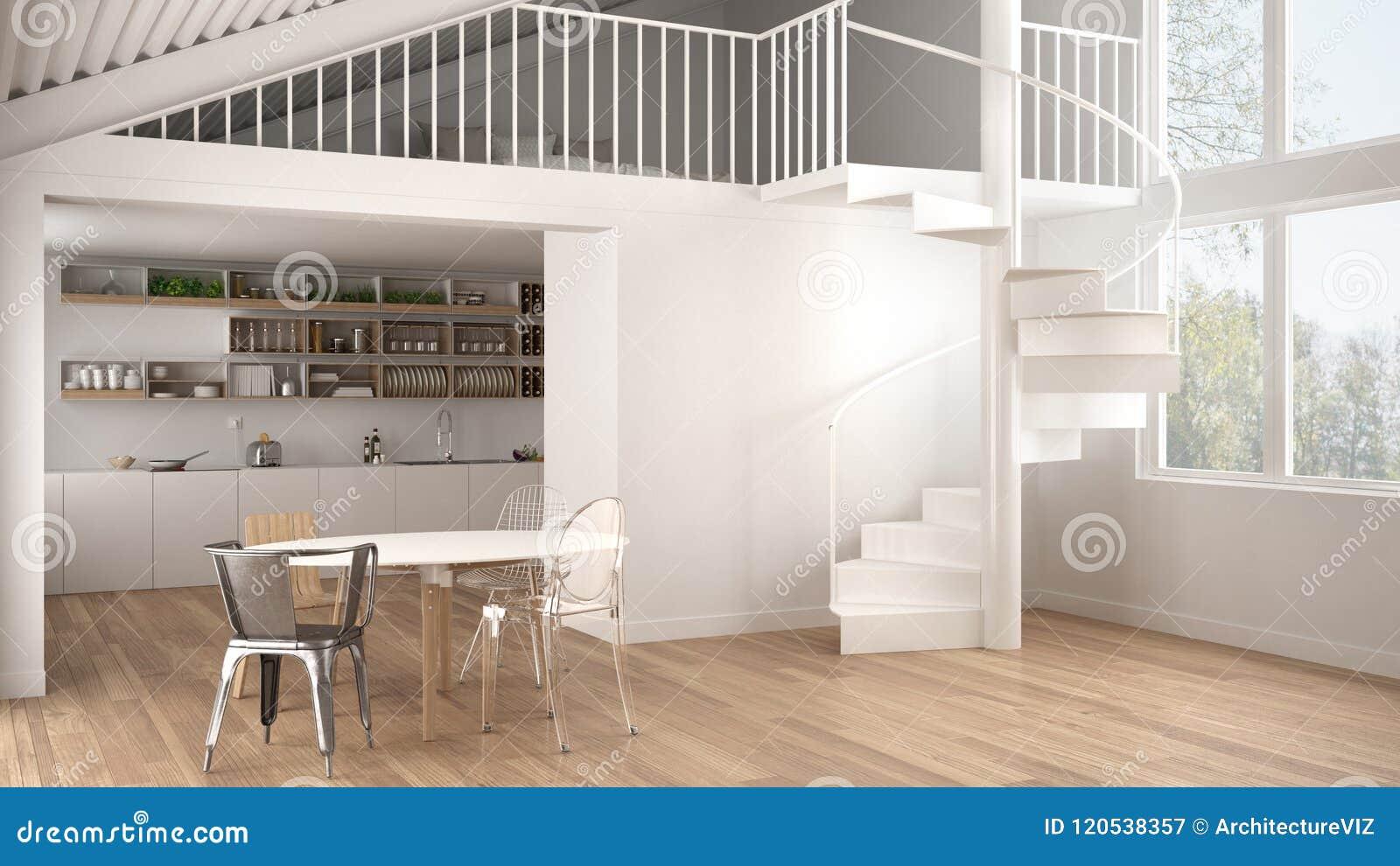 Minimalist White Kitchen With Mezzanine And Modern Spiral Staircase