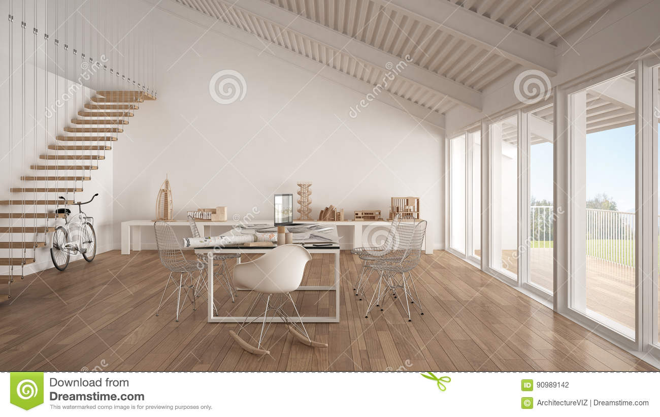 Minimalist White Office, Architect And Planning Department, Scan ...