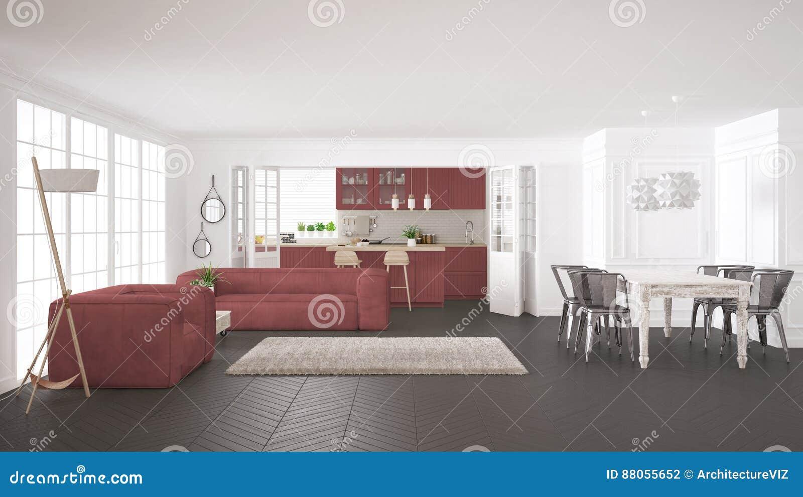 Scandinavian minimalist white background with armchair for Vintage minimalist interior design