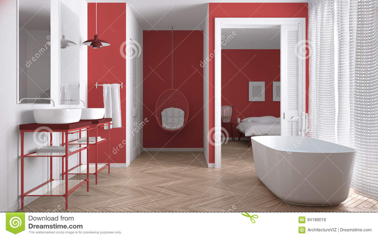 Minimalist White And Red Scandinavian Bathroom With Bedroom Stock