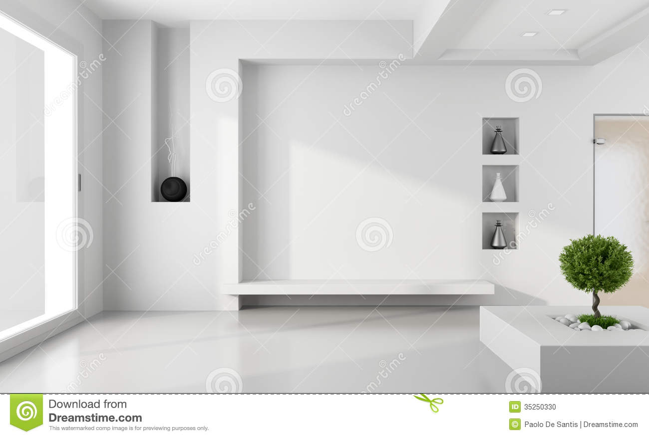 Minimalist white room stock photo image 35250330 for Minimalist living without furniture