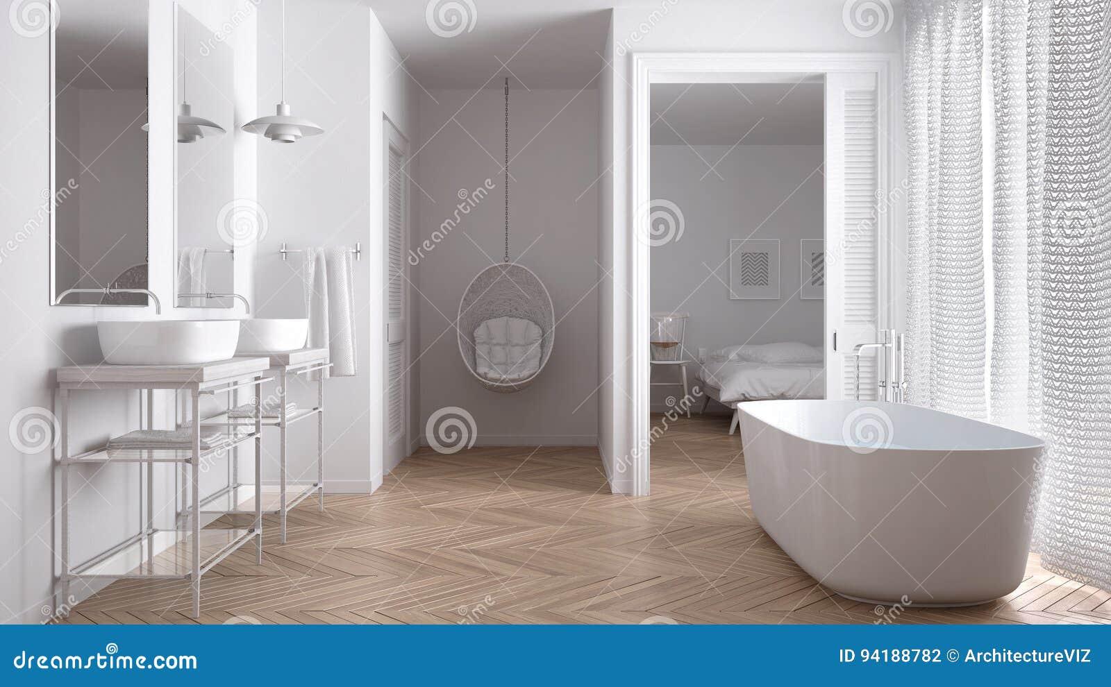 Minimalist White Scandinavian Bathroom With Bedroom Stock Photo