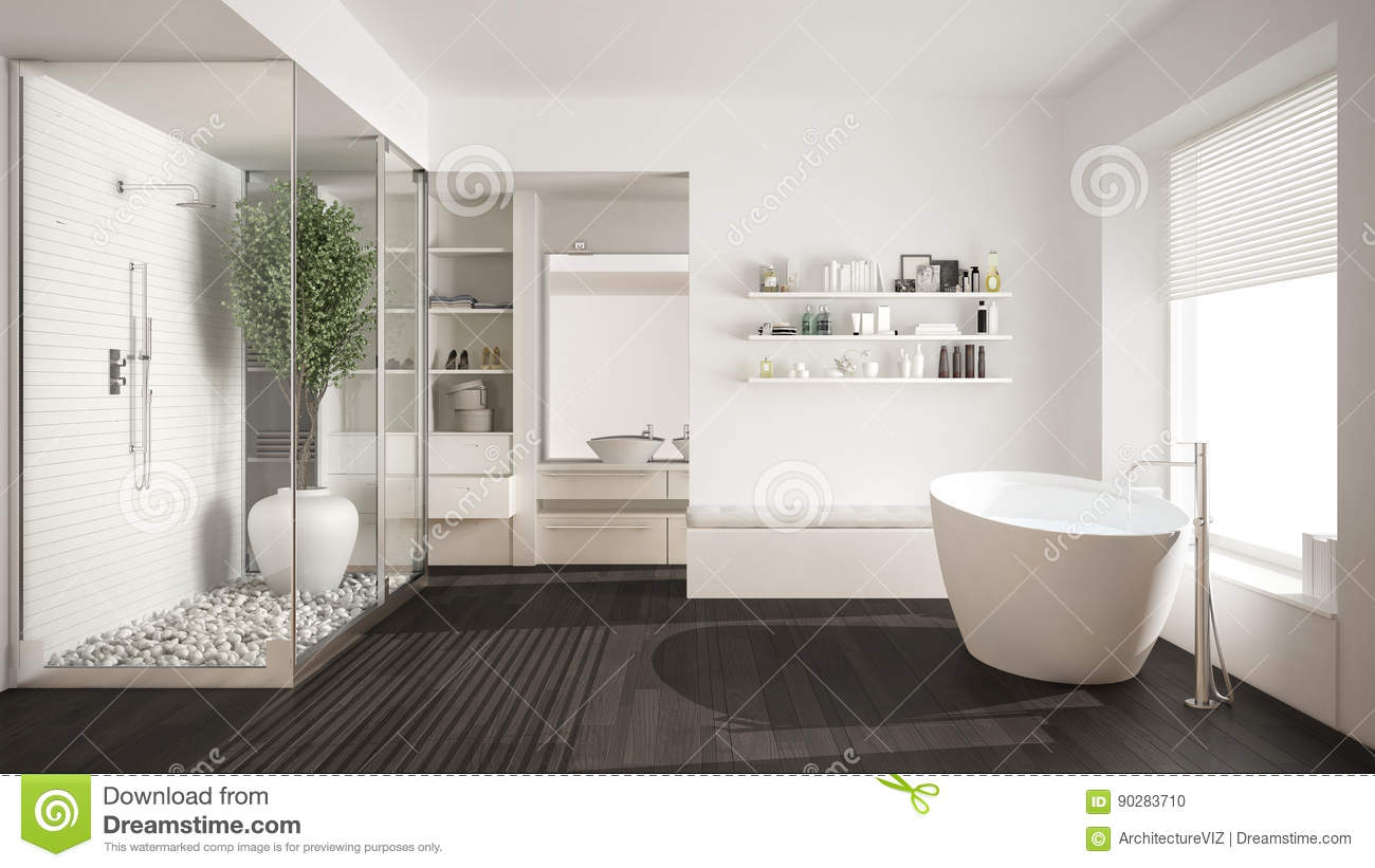 Minimalist White Scandinavian Bathroom With Walk In Closet Classic Scandinavian Interior Design Stock Photo Image Of Bathtub Bath 90283710
