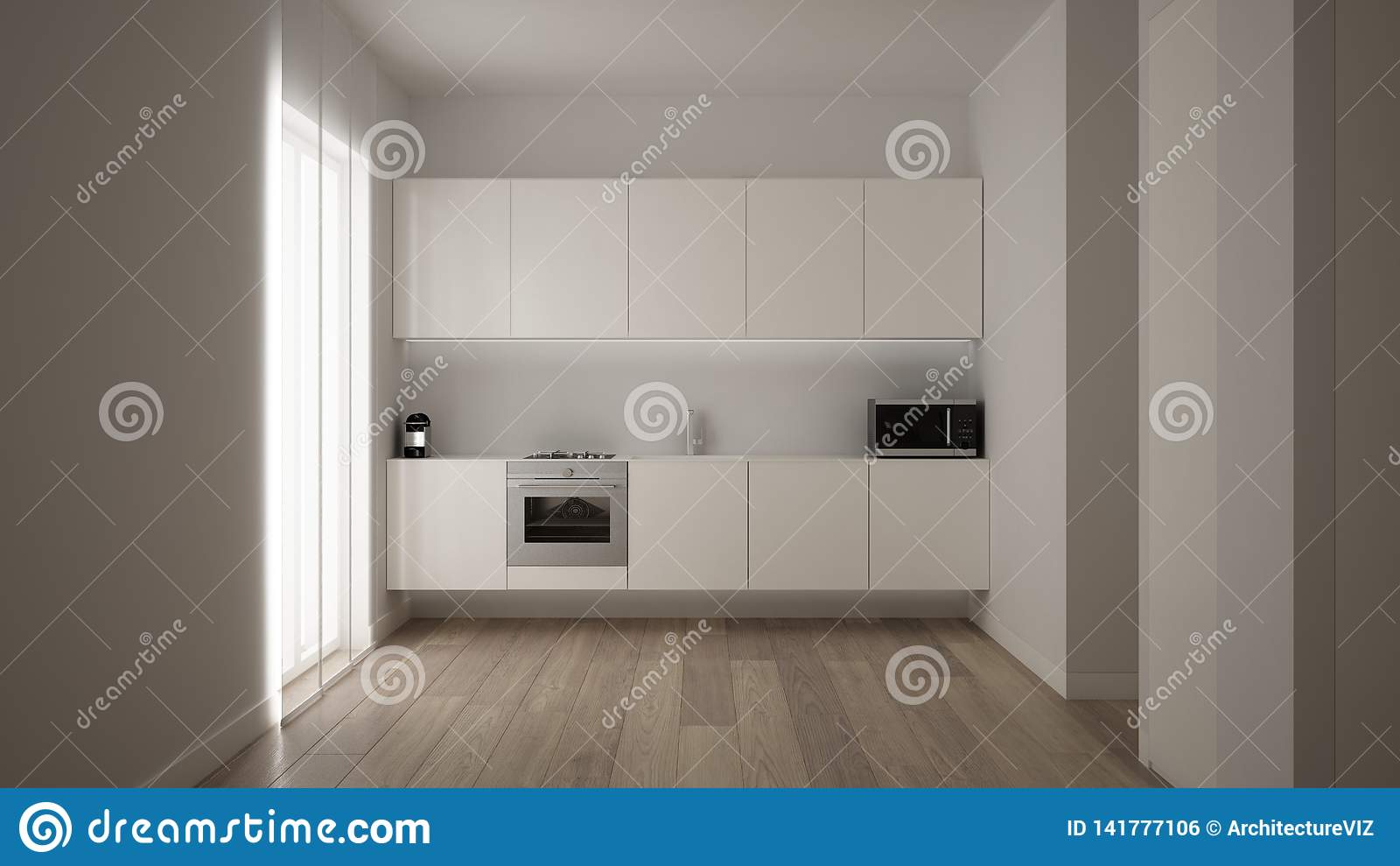 Minimalist White Small Kitchen Design In One Bedroom Apartment With Parquet Floor And Window With Modern Curtain Clean Interior Stock Illustration Illustration Of Bright Contemporary 141777106