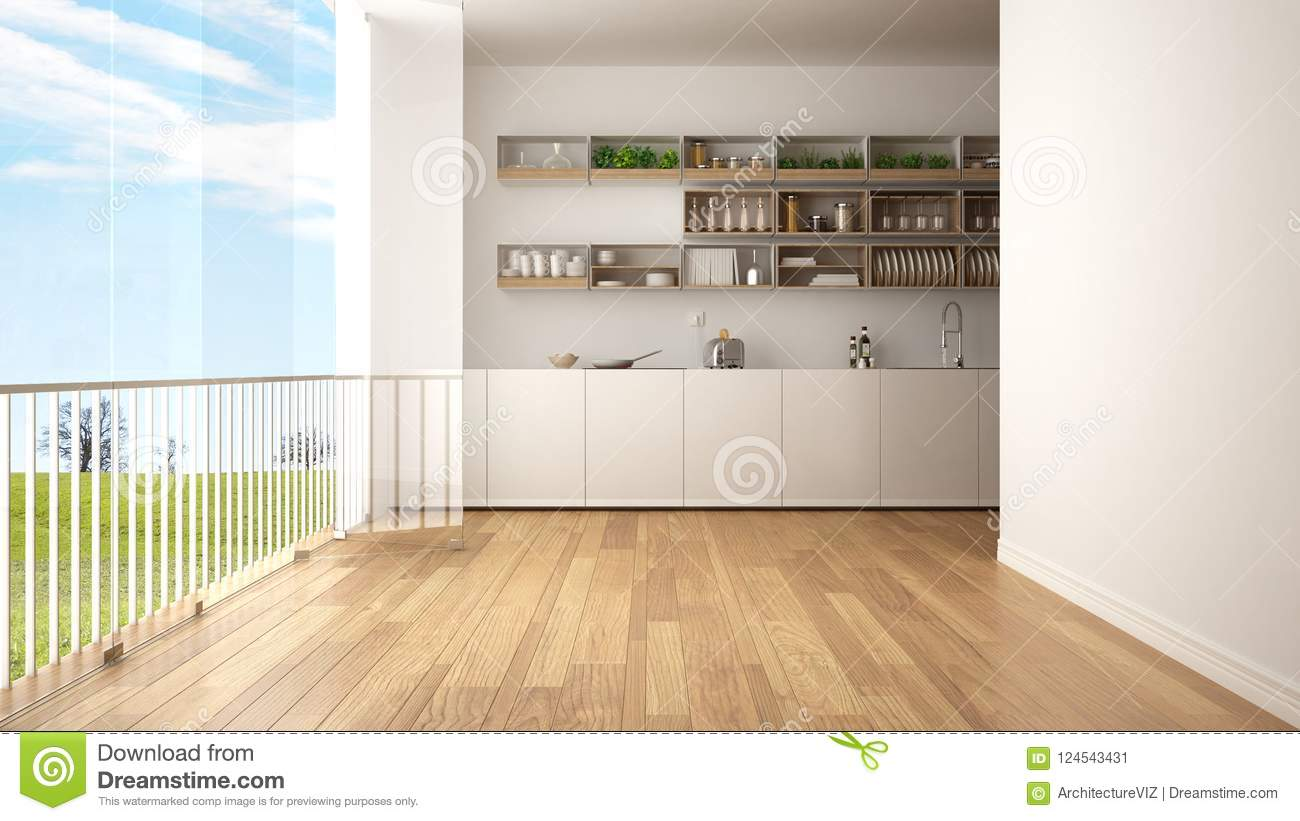 Minimalist White And Wooden Kitchen With Parquet Floor And Big