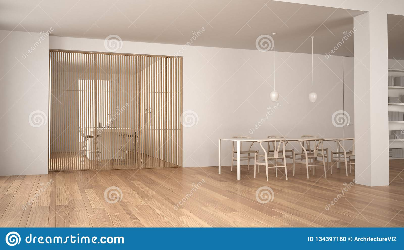 Minimalist White And Wooden Living Room With Dining Table Sliding Door Modern Kitchen