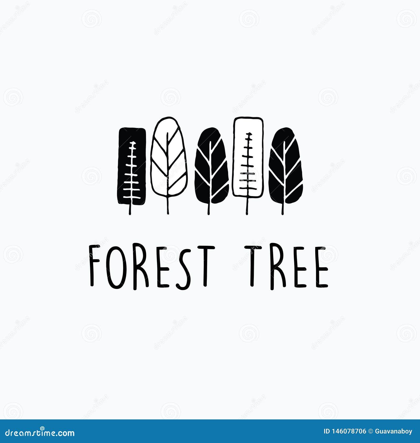 Minimaliste d abrégé sur arbre forestier et ensembles tirés par la main