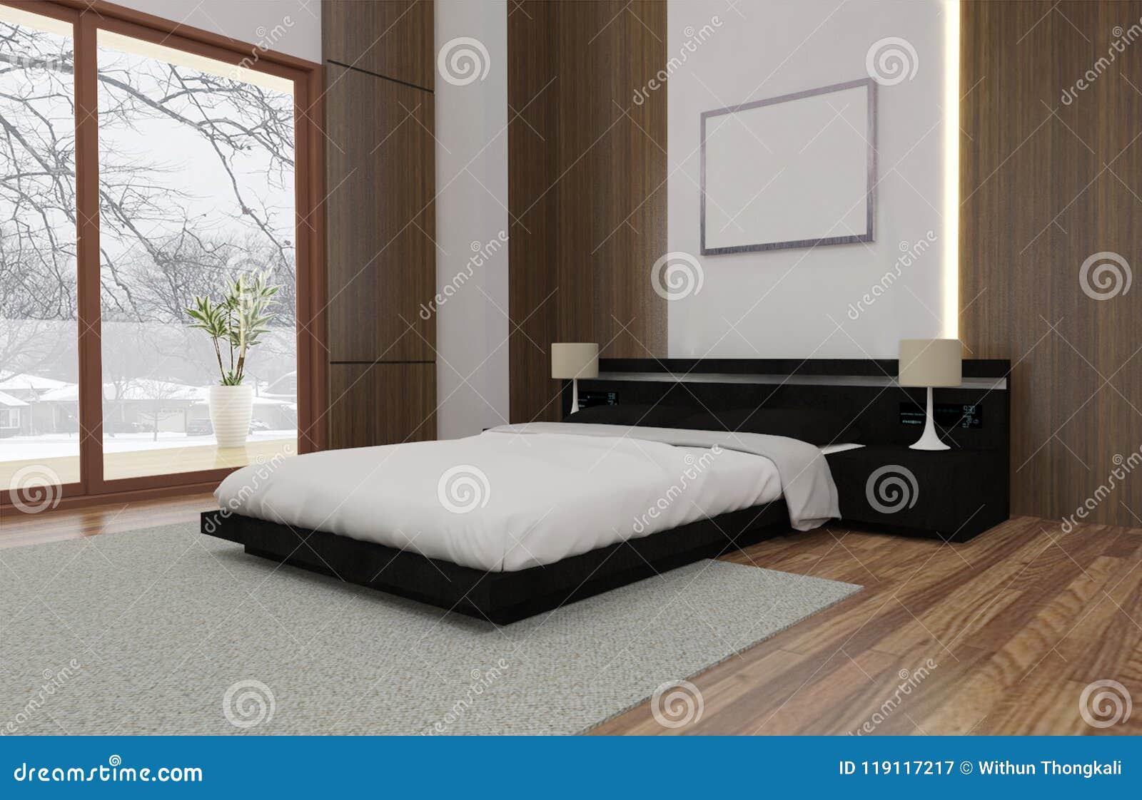 Minimalisten och scandinavian stil med den hemtrevliga sovruminre och 3d framför